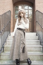 Tweed Hem Check Skirt (Brown)