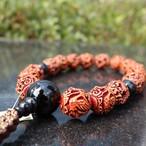 龍ノ鳳凰彫珠・青虎目石仕立て(Dragon& Phoenix Wood Carved style)
