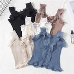 5色 フリル キャミソール フェミニン ホワイト ブルー ブラック カーキ アプリコット レディース ファッション 韓国 オルチャン