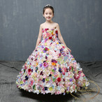 kids import dress flower spanish girl  colorful happy formal party garden インポートドレス 花柄 キッズ カラフル ロングドレス