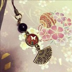 再販★和小物ストラップ 扇と蝶の舞