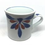 【砥部焼/梅山窯】マグカップ・反り(赤菊)