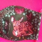 レディースファッションマスク  鹿とうさぎ  グリーン