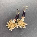 ROSARY Beads Tassel ピアス - purple/natural/pearl- 【イヤリング変更可】