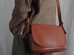 "AMERICA 1990's OLD COACH ""BROWN Leather"" shoulder bag"