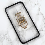 【送料無料】縁ブラックのソフトケース&香水ボトル&バンカーリング iPhoneケース