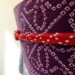 正絹帯締め 赤に白いあられ模様 未使用品