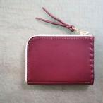 L字ファスナーの小型財布 ワインレッド