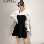 【セットアップ】新作韓国風レーズパフスリーブシャツ+黒いハイウエストニット生地ベアトップスカート