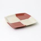 【SL-0082】磁器 13.3cm 角銘々皿 レンガ 市松