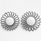 """Emmons"" white & gold flower earring[e-776]"