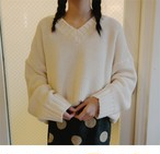 【tops】着回し力抜群ソリッドカラーゆったり着心地良いニットセーター