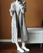 【ロング丈で暖か★フード付ロングニットコート】ケーブル編みロングニットコート3カラー