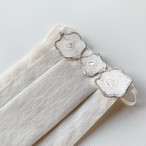 お出かけマスク、ワンタックプリーツマスク「プラチナ箔 花P」医化学的繊維と銀の糸を使った抗菌防臭