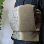 正絹 海松茶に紅型の袋帯