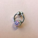 Vintage glass Ring Earring #1785 silver