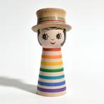 ギョロ目ちゃんこけし(レインボー帽子付) 約3.5寸 約10.2cm 山谷レイ 工人(津軽系)#0112