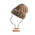 mature ha./slant cutting knit cap aran 2 lamb camel
