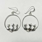 Vintage 925 Silver Cats Motif Pirced Earrings