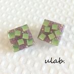 粒々パッチンイヤリング Green&Purple Square(ピアス交換可)