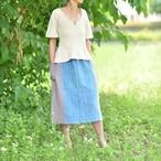 手織藍染3色スカート