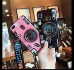 iPhoneケース 11 Pro Max 対応 カメラ風 ピンク ネイビー ストラップ付き スマホカバー