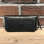 Round Zip Long Wallet Type-2 ペイズリー革 Black
