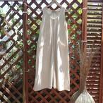 チェンマイ 草木染め糸で刺し子 ノースリーブロングワンピース キナリ