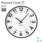 KATOMOKU plywood clock 17 km-106BRRCS ブラウン SKP電波時計