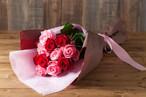 【プレゼントにぴったり】花束/バラのロングブーケ(レッド&ピンク)