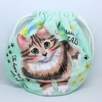 【メゾンドキャッツ】起毛素材巾着ポーチ(長毛・グリーン)【猫雑貨 猫グッズ】
