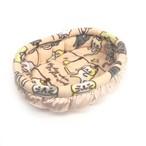 ふーじこちゃんママ手作り ぽんぽんベッド (サテンサーモンピンク・フリース・ねこお洗濯柄)Mサイズ
