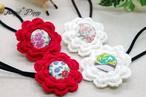 手編み お花&くるみボタンのヘアゴム