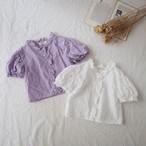 【summer sale】bananaj.刺繍コットンパフブラウス[80-110]