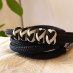 正絹 小田巻つきの丸組の帯締め 黒