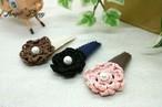 レース編みお花飾りのパッチン留め(ぱっちんピン)