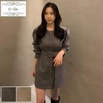 No.407 韓国ワンピース きれいめワンピース 大人可愛いワンピース タイトワンピース ミニワンピース 2color
