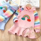フード付き ピンク こども 子供 キッズ 服 可愛い rainbow レインボー 長袖 秋 冬 ワンピース カラフル レインボー  おでかけ フリル
