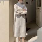 【dress】無地ハイネック合わせやすいロングカジュアルワンピース24933532