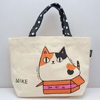 【猫3兄弟】トートバッグ小(mike) 【猫柄 三毛猫 13577】