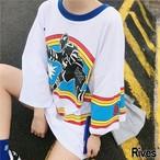 白シャツ 半袖 レディース バックプリント デザイン ゆったり ビッグシルエット オシャレ ファッション アパレル 夏 Rives リーブス ストリート 韓国 オルチャン rives