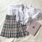 tartan check pleats skirt