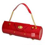 クロコダイル調 ショルダーバッグ & ピクニック ワインバッグ Red レッド