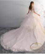 ladies wedding dress pink white long A-line happy ceremony 海外 ウエディングドレス ピンクホワイト かわいい Aライン 小花柄 花柄 フラワードレス 可愛い レディース
