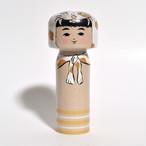 トラかぶりこけし(IVOKUMAコラボ) 約4寸 約12cm 林貴俊 工人(石巻こけし)#0077