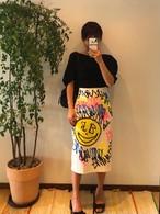 ペイントスリットロングスカート 韓国ファッション
