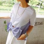 SALE 40%OFF★ビッグストライプリボン切り替えシャツ/トップス