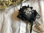 【ご予約】裂き編みコサージュ :ブラック(限定数)