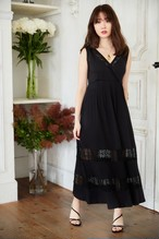 Lace-trimmed Jersey Long Dress