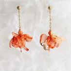 線香花火 オレンジ|オーガンジーのタッセル風チェーン花ピアスorイヤリング